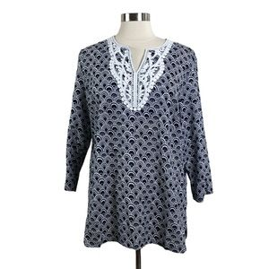 Talbots 100% cotton Black print pullover